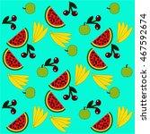 watermelon  cherry  apple ... | Shutterstock .eps vector #467592674