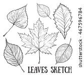 autumn leaf sketch set.  | Shutterstock .eps vector #467596784