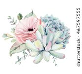 watercolor succulent... | Shutterstock . vector #467597555