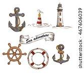 hand drawn marine objects set.... | Shutterstock .eps vector #467606039