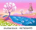 fantasy landscape with castle....   Shutterstock .eps vector #467606495