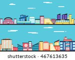 city landscape. clouds in the... | Shutterstock .eps vector #467613635