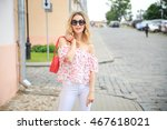 smiling fashion woman in the... | Shutterstock . vector #467618021