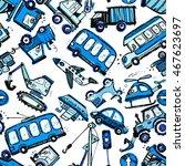 funny cars. kids seamless... | Shutterstock .eps vector #467623697