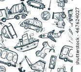 funny cars. kids seamless... | Shutterstock .eps vector #467624027