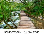 wooden road trail in plitvice... | Shutterstock . vector #467625935