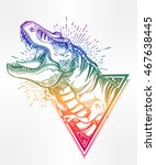 tyrannosaurus dinosaur head.... | Shutterstock .eps vector #467638445