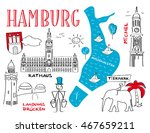 hamburg the town's landmarks  ... | Shutterstock .eps vector #467659211