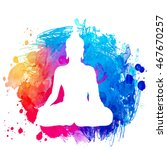sitting buddha silhouette over... | Shutterstock .eps vector #467670257