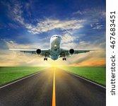 passenger airplane take off...   Shutterstock . vector #467683451