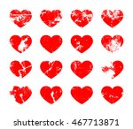 set of distressed hearts in... | Shutterstock .eps vector #467713871