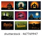 multiple halloween background... | Shutterstock .eps vector #467769947