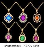 illustration set of necklace... | Shutterstock .eps vector #467777345