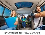 happy parents traveling by car... | Shutterstock . vector #467789795