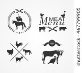 silhouettes of farm animals on... | Shutterstock .eps vector #467799905