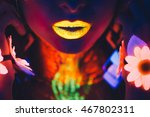 Portrait  Lips And Hands In Th...