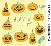 halloween pumpkins set vector... | Shutterstock .eps vector #467815355