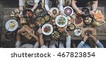 table with food  top view | Shutterstock . vector #467823854