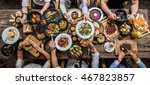 table with food  top view | Shutterstock . vector #467823857