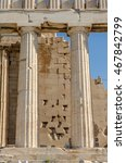 Small photo of ATHENS, GREECE JULY 20 2016: Closeup of two of the Doric columns on the side of the Parthenon.
