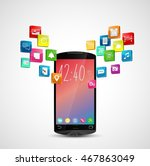 black smartphone with... | Shutterstock .eps vector #467863049
