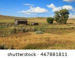 Old ranch barns and field near Craig, Colorado, USA.