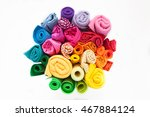 Rolls Of Colored Fabric On A...