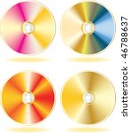 gold cd  dvd disks set. vector... | Shutterstock .eps vector #46788637