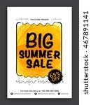 big summer sale flyer  sale... | Shutterstock .eps vector #467891141