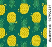 pineapples hand drawn seamless... | Shutterstock .eps vector #467902889