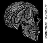 Vector Human Skull On A Black...