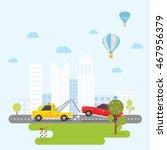 tow truck towing a sedan car... | Shutterstock .eps vector #467956379