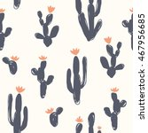 seamless hand drawn cactus... | Shutterstock .eps vector #467956685
