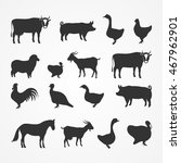silhouettes of farm animals on... | Shutterstock .eps vector #467962901