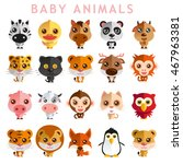 cute baby animal vector... | Shutterstock .eps vector #467963381