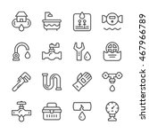 set line icons of plumbing | Shutterstock .eps vector #467966789