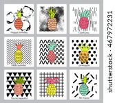 pineapple fruit.set of creative ... | Shutterstock .eps vector #467972231