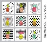 pineapple fruit.set of creative ... | Shutterstock .eps vector #467972231