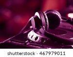pro dj headphones on cd player... | Shutterstock . vector #467979011