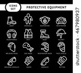 set line icons of protecting... | Shutterstock .eps vector #467980937