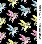 unicorn pattern on black... | Shutterstock .eps vector #467981309