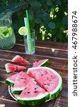 homemade lemonade for detox.... | Shutterstock . vector #467988674