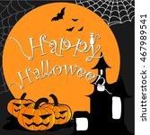 happy halloween vector. | Shutterstock .eps vector #467989541