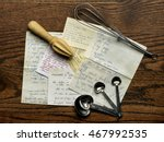 old recipes with wire whisk and ...   Shutterstock . vector #467992535
