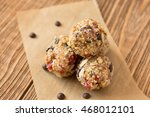 granola balls on wooden... | Shutterstock . vector #468012101