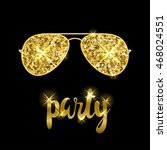 party time card template. gold... | Shutterstock .eps vector #468024551