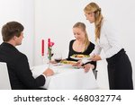 female couple serving food to...   Shutterstock . vector #468032774