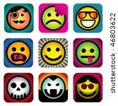 Set of different smileys. Vector illustration. - stock vector