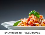 pasta penne with tomato... | Shutterstock . vector #468050981