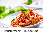 pasta penne with tomato... | Shutterstock . vector #468051005